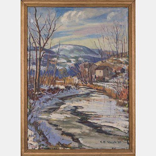 C. E. Vacek (20th Century) Winter River Landscape, Oil on canvas,
