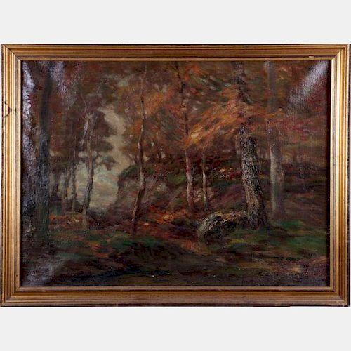 John Semon (1852-1917) Autumn Forest Scene, Oil on canvas,