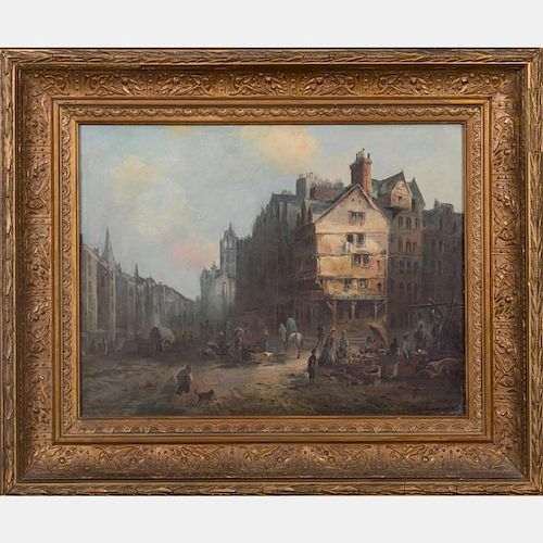 Attributed to Morten Muller (1828-1911) Continental City Scene, Oil on board,