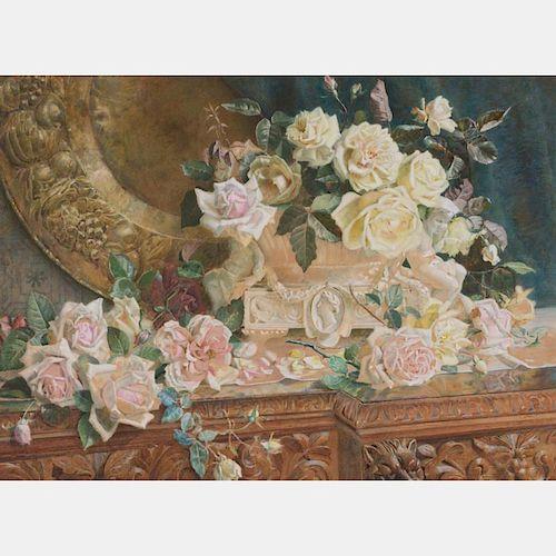 Kate Sadler (d. 1894) Pink Roses, Watercolor,