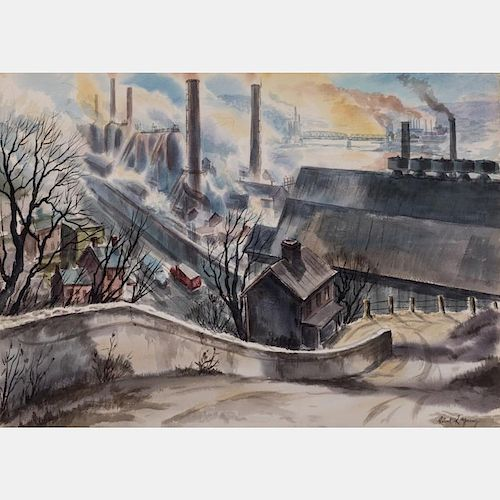 Robert R. Young (20th Century) Mills Along the Valley Monogahela River, Watercolor on paper,