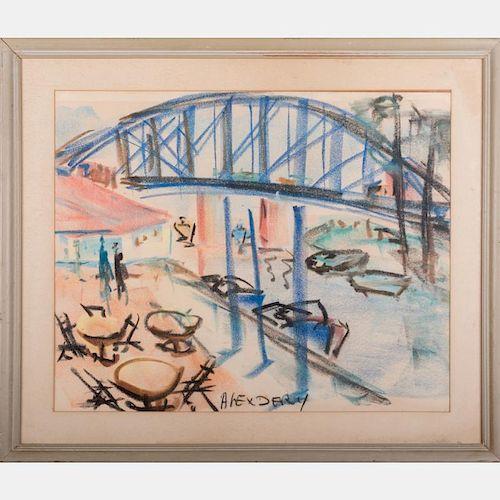 Alex Dery (20th Century) Cleveland Flats, Pastel on paper,