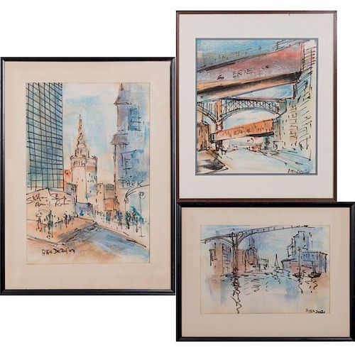 Alex Dery (20th Century) Three Works Depicting Cleveland, Pastels on paper,
