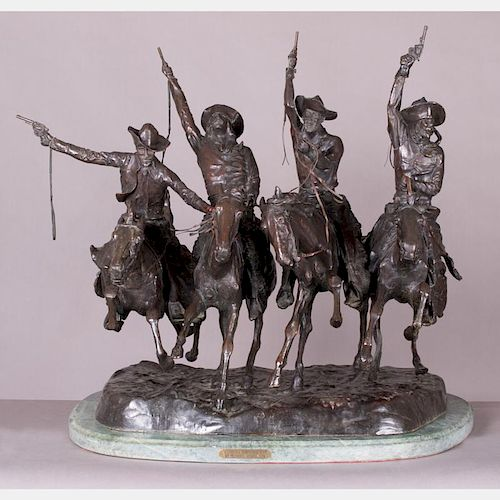 After Frederic Remington (1861-1909) Coming Thru the Rye, Bronze,