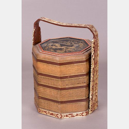 A Chinese Woven and Lacquered Four Tier Lunch Box, 19th/20th Century.