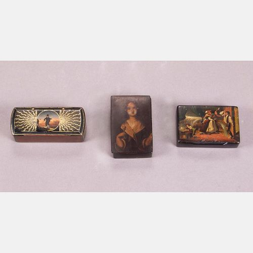 A Group of Three Diminutive Lacquered Papier Mâché Boxes with Painted Decoration, 19th Century.
