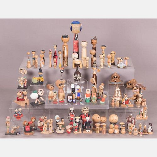 A Collection of Japanese Vintage Kokeshi Dolls, Showa Period.