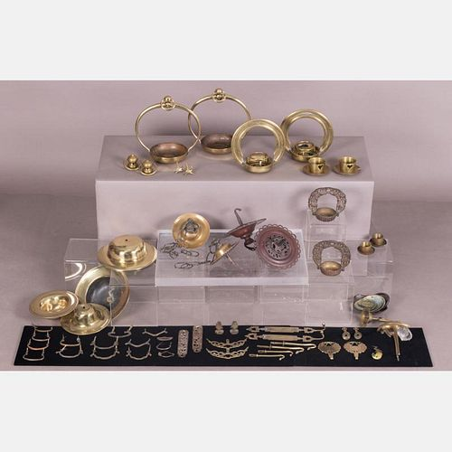 A Miscellaneous Collection of Japanese Brass and Copper Fittings, Meiji and Showa Periods.