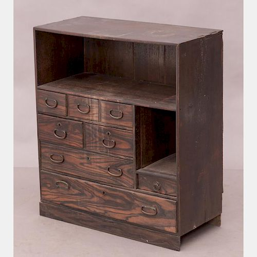 A Japanese Elm Cabinet, Late Meiji Period.