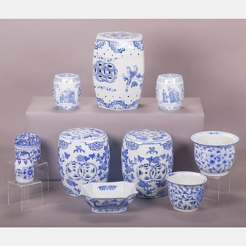 A Miscellaneous Collection of Chinese Blue and White Porcelain Decorative Items, 20th Century.
