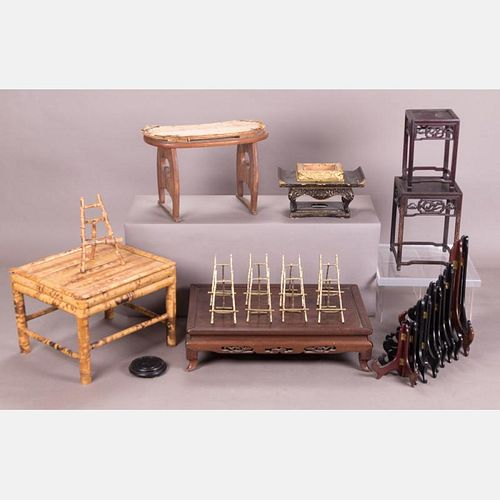 A Miscellaneous Collection of Asian Stands and Easels, 20th Century.