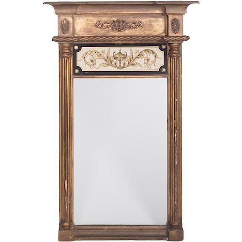 An American Federal Mirror with Eglomise Panel, 19th Century,