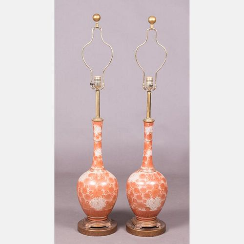 A Pair of Chinese Porcelain Table Lamps, 20th Century.