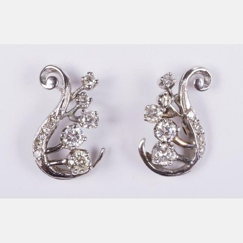 A Pair of 14kt. White Gold and Diamond Earrings,