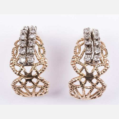 A Pair of 18kt. Yellow and White Gold Diamond Melee Earrings,