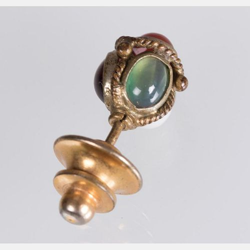 A Gold Plated, Opal and Colored Stone Tie Pin,