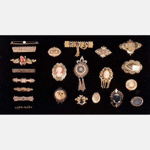 A Miscellaneous Collection of Low Karat Gold Plated Brooches, 19th/20th Century,