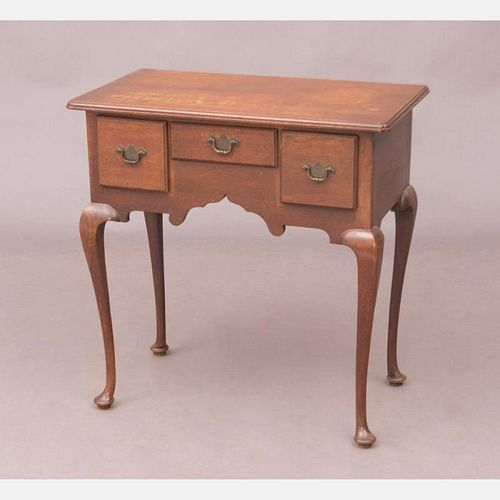 An American Queen Anne Style Walnut Lowboy, 20th Century,