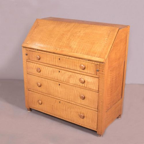 An American Tiger Maple Desk, 19th Century.