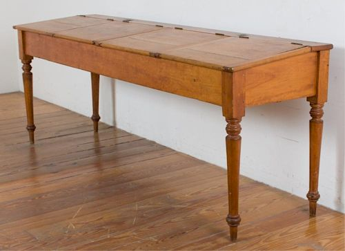 Antique School Desk 4 Person Red Oak Winkwells By Bremo Auctions