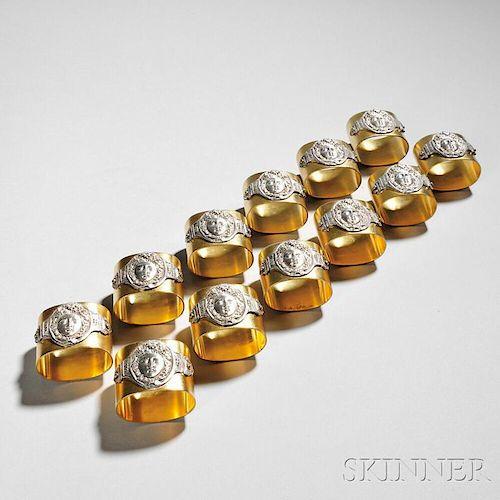 Twelve Victorian Silver-plate Napkin Rings