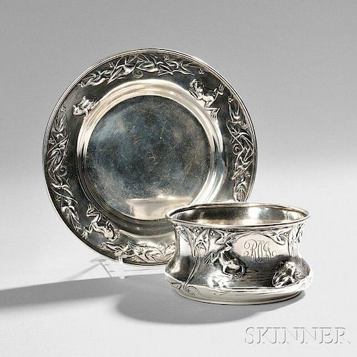 Art Nouveau Sterling Silver Bowl and Undertray