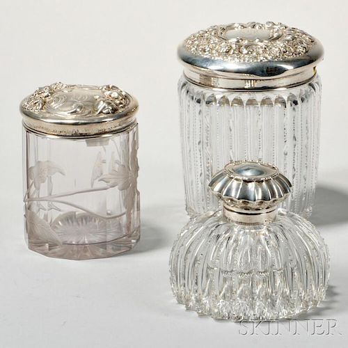 Three Sterling Silver-mounted Cut Glass Items