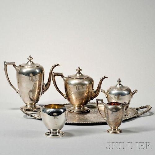 Dominick and Haff/Reed & Barton Five-piece Sterling Silver Tea and Coffee Service