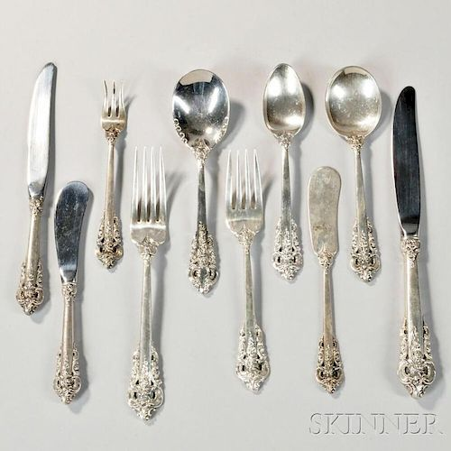 """Fifty-two Pieces of Wallace """"Grand Baroque"""" Sterling Silver Flatware"""