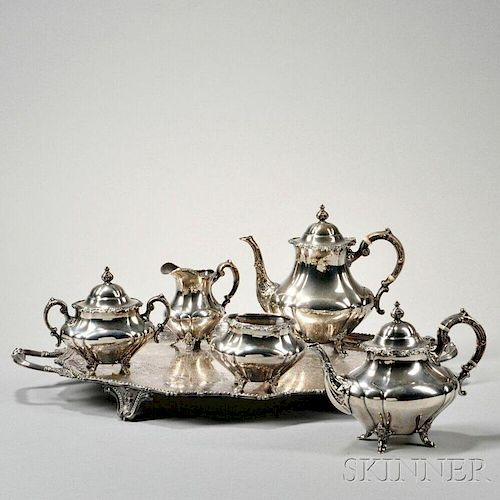 Five-piece Reed & Barton Sterling Silver Tea and Coffee Service with an Associated Silver-plate Tray