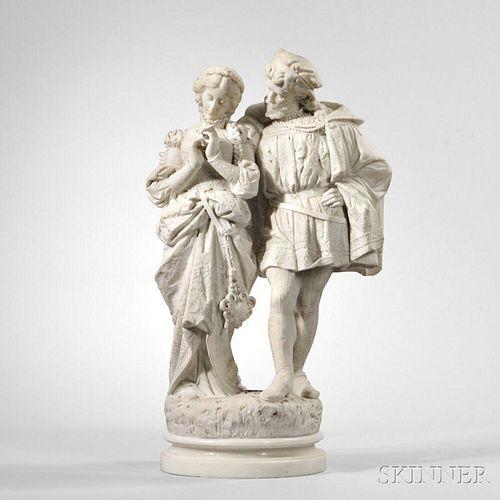Italian School, 19th Century       Marble Sculpture of a Renaissance Couple