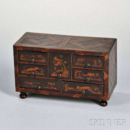 Miniature Inlaid Walnut Chest