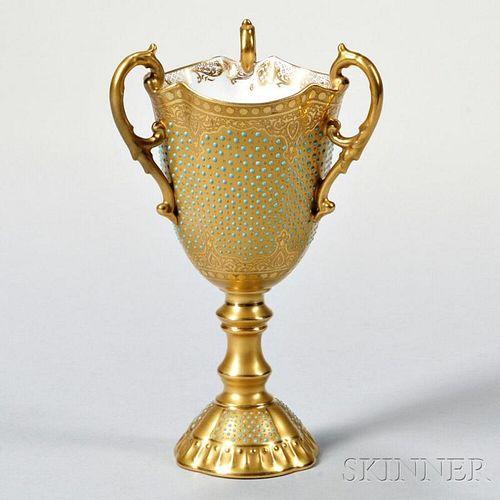 Jeweled Coalport Porcelain Loving Cup