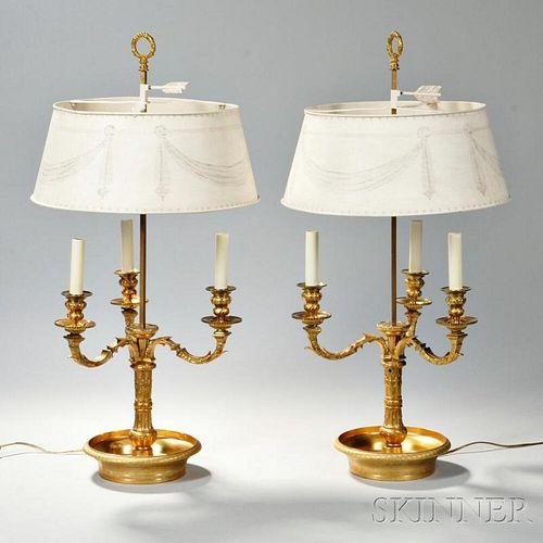 Pair of Louis XVI-style Gilt-bronze Bouillotte Lamps