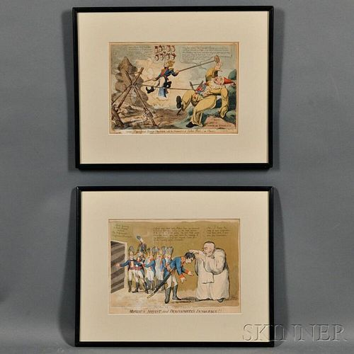 Two British Satirical Napoleonic Prints:      William Holland (1757-1815), publisher, Moreau's Arrest and Buonaparte's Innocence!!