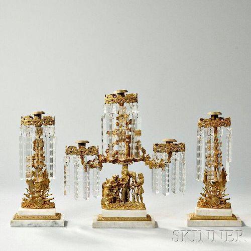 Three-piece Gilt-metal Girandole Set