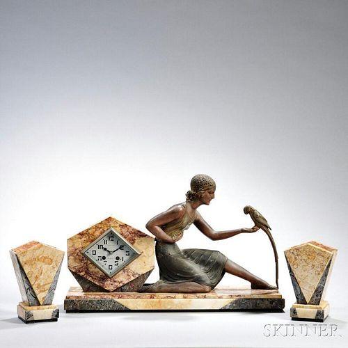 Three-piece Marble and Gilt-bronze Clock Garniture
