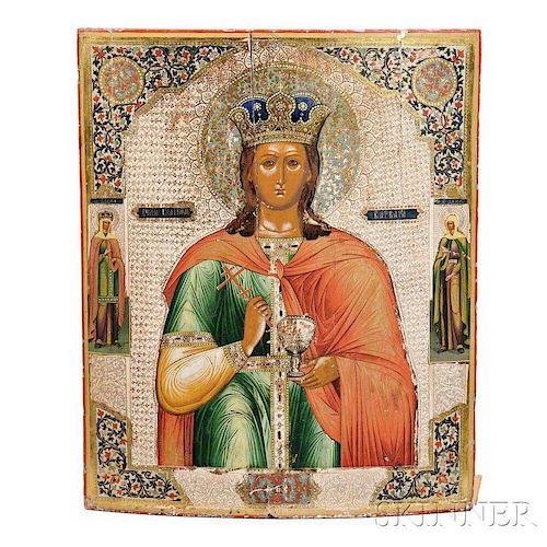 Russian Icon Depicting Saint Barbara
