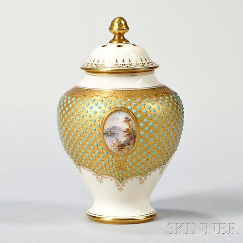 Jeweled Coalport Porcelain Potpourri and Cover