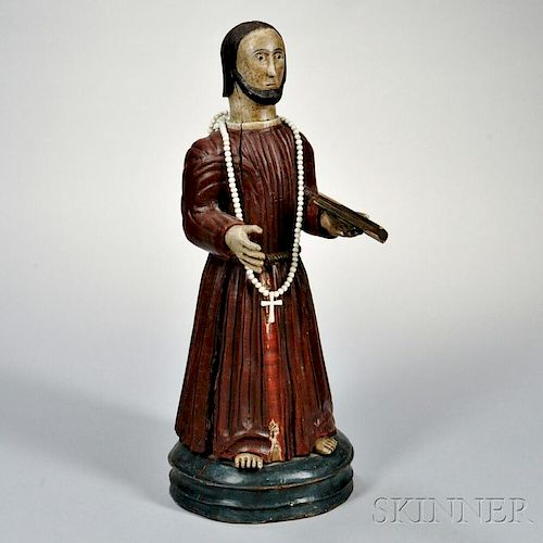 Continental Carved and Painted Figure of Saint