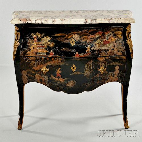 Louis XV-style Japanned Marble-top Commode