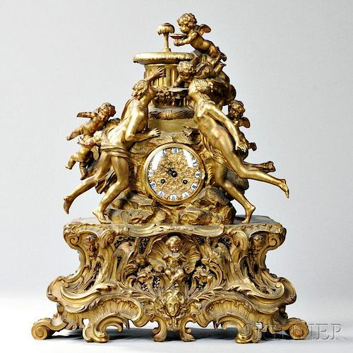 Louis XV-style Gilt-bronze Clock