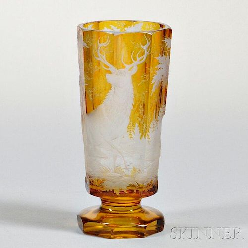 Bohemian Etched Amber Glass Vase