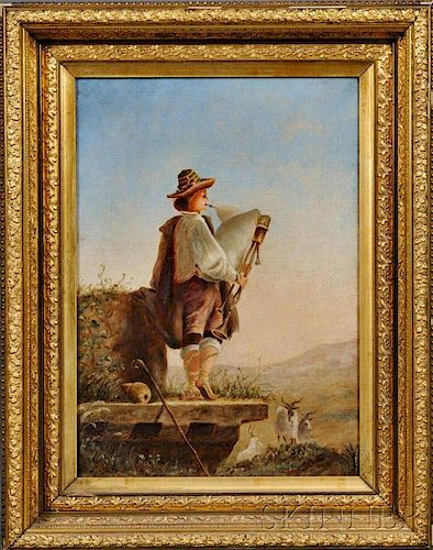 Continental School, 19th Century      Goatherd Playing a Bagpipe