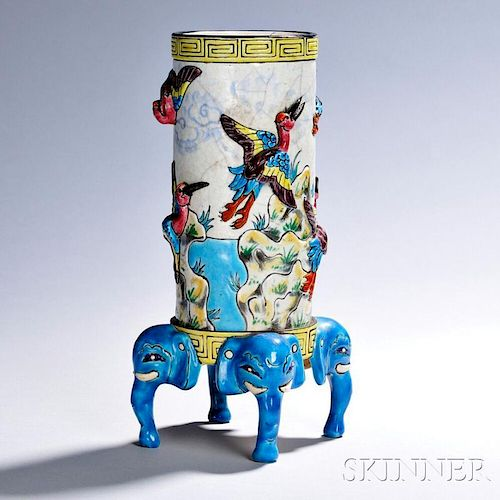 Longwy Pottery Vase with Stand