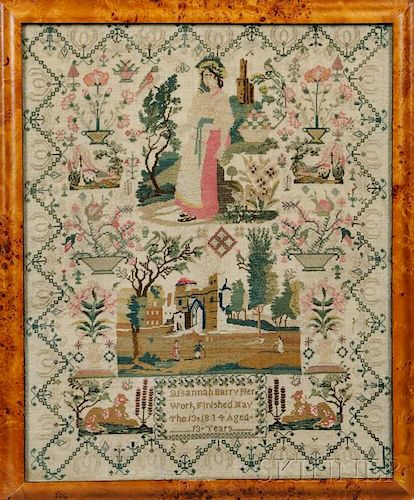 English Pictorial Needlework Sampler