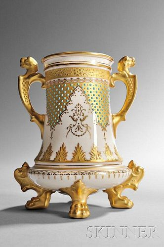 Jeweled Coalport Porcelain Vase