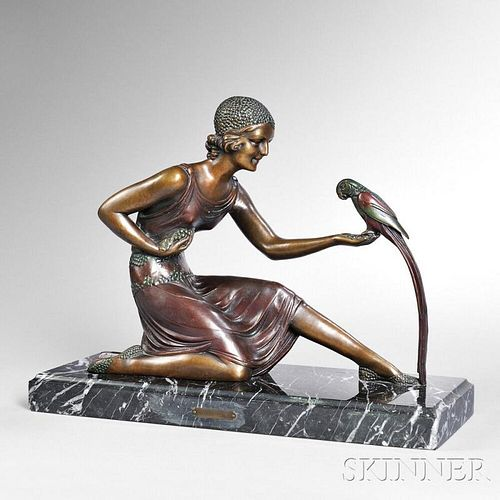 After Dimitri Haralamb Chiparus (Romanian, 1886-1947)       Bronze Figure of a Girl with a Parrot