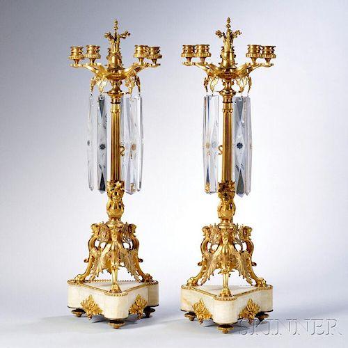 Pair of Empire-style Gilt-bronze Five-light Candelabra