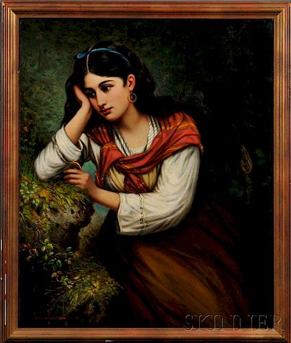 Oregon Wilson (American, 1845-1873)      Young Woman in Reverie